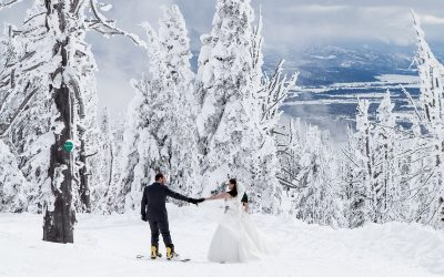 Downhill Skiing Bride and Groom | Brundage Mountain